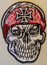 SKULL WITH IRON CROSS PATCH - GERMAN - MALTESE  - motorcycle vest patch