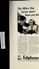 1937 Office Edison Ediphone Voicewriter Vintage Print Ad 5051
