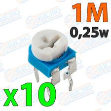 10x Potenciometro 1M ohm 1/4w 0,25w horizontal resistencia variable PCB
