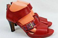 BLONDO Women's Red W/Reptile Leather Accent Zip Pump High Heel Shoes Size 9 M