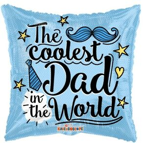 """4- 18"""" The Coolest Dad World Foil Mylar Balloons, Father Day Party Supply"""