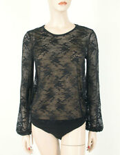 Aqua Lace Illusion Bodysuit Bloomingdale's Exclusive Black S $118 8963 BM9