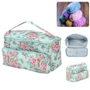 Portable Knitting Yarn Storage Tote Bag Crocheting Needle Hooks Organizer Pouch
