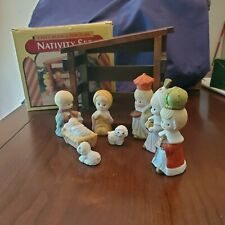9 Piece Wood & Porcelain Nativity Set