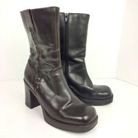 Vtg SKECHERS Chunky Boots Womens Size 8 Dark Brown Vegan Faux Leather Mid Calf