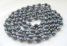 "P5100-61"" Long 5-6-10-12mm black baroque freshwater pearl necklace"