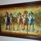"""P GORDON HORSE RACING OIL PAINTING ON CANVAS, FRAMED, SIGNED 41.5""""W"""