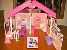 Barbie Fold 'n Fun House w Go Travel Storage Case 1992 & Mixed Lot of Furniture