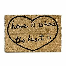 Relaxdays Coconut Fibre HOME IS WHERE THE HEART IS Coir Doormat 40 x 60 cm with