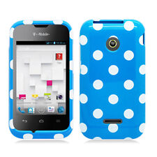 For Huawei Glory H868C HARD Protector Case Snap On Phone Cover Blue Polka Dots