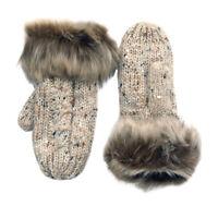 Women Oatmeal Speckled Wool Fur Trimmed Mittens Irish Knitwear Stylish & Warm