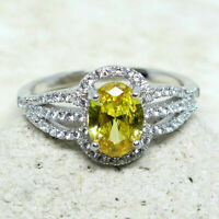 ASTONISHING 1.5 CT OVAL CITRINE YELLOW 925 STERLING SILVER RING SIZE 5-10