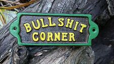 BULLSHIT CORNER Plaque Sign ~John Deere Colors  ~Tractor Redneck  Man Cave Decor