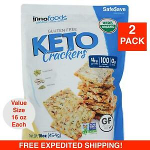 32 oz Innofoods ORGANIC Gluten Free Keto Crackers 2 Packs 16 oz each, Kosher