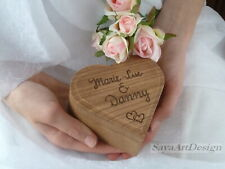 Wooden Ring Box Heart Shaped, Rustic Wedding Ring Bearer. Personalized Pillow.