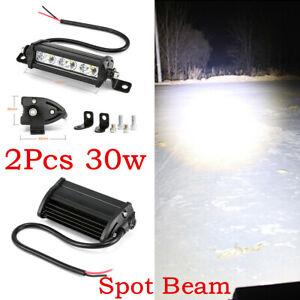 Pair 4inch 30W Single Row LED Light Bar 3LED 6500K Car Truck ATV 4WD Work Bulb