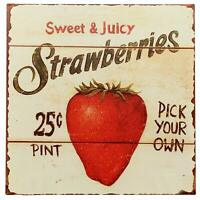 Strawberries Pick Your Own Retro Vintage Tin Bar Sign Country Home Decor