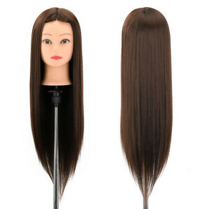 """21"""" 53cm Fibre Hairdressing Long Hair Training head Mannequin Doll Styling Clamp"""