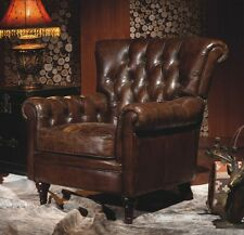 vintage cuir véritable Chesterfield FAUTEUIL EN MARRON salon club 449