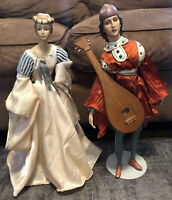 "Renaissance Lady In Waiting & Minstrel Porcelain Doll Antique Look  20"" Unmarked"