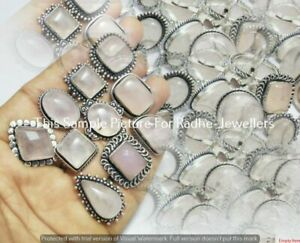 Natural Rose Quartz Gemstone 10pc Wholesale Lot 925 Sterling Silver Plated Rings