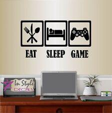 Vinyl Decal Eat Sleep Game Video Games Gamer Teen Boys Bedroom Wall Sticker 878