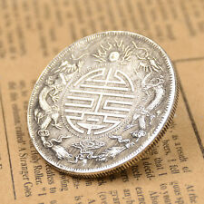 Chinese Feng Shui Double Dragons Carved Lucky Coins Auspicious Retro Copper Coin