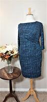 Talbots Blue Print  Ruched Sheath Dress -Size 1X