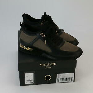 Mallet Diver Men's Black Gold Trainers Sneakers With Box Size UK8 EUR41
