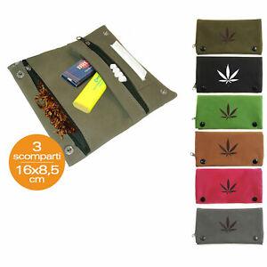 Portatabacco in eco pelle Astuccio Porta Tabacco Cartine Filtri 3 scomparti
