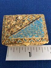 Antique Miniature Goldtone & Blue Enamel Scribed Pill Box