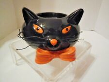 """New listing Black Cat """"Halloween"""" Themed Vintage Pillar Candle Holder, 60's Circa, Unbranded"""