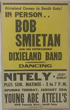 Bob Smietan & His Dixieland Band - Orig. 1959 Concert Placard