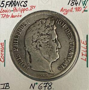 5 FRANCS LOUIS-PHILIPPE Ier - 1841 W - Pièce de Monnaie en Argent // TB