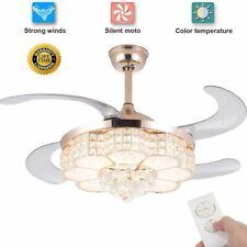 """42"""" LED Crystal Ceiling Fan Chandelier Cealing Bladeless Fan with Light W/Remote"""