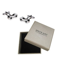 Mens Silver Rhodium Bike Chain Stye Cufflinks & Gift Box By Onyx Art