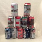 Budweiser 2021 Patriotic & Folds of Honor Beer Cans  Holiday ~ Set of 11 ~ Empty