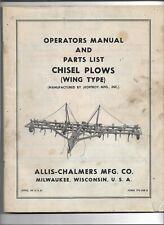 Original Oem Allis Chalmers Wing Type Chisel Plows Operators Manual Parts List