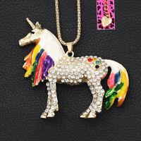 Betsey Johnson Enamel Crystal Cute Unicorn Horse Pendant Chain Necklace Gift