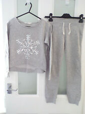 WORN ONCE Girls grey cropped skinny snow flake sequin tracksuit by H&M age 8-10