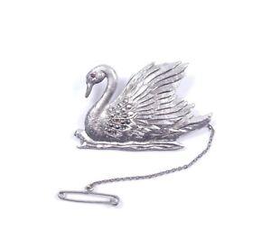 Silver Marcasite Swan Brooch Pink CZ Eye Large 925 Sterling 16.7g