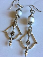 With White Howlite Stone Bead Bow And Arrow Charm Earrings