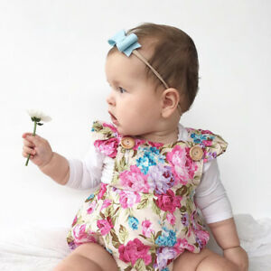 New-born Infant Baby Girl Clothes Jumpsuit Romper Bodysuit Headband Outfits Set