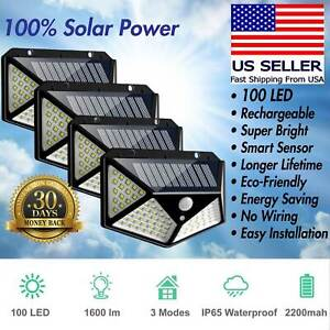 100 LED PIR Motion Sensor Wall Light Solar Power Waterproof Outdoor Garden Lamps