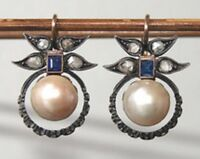 "Victorian 1.05 Ct Rose Cut Diamond Pearl 925 Sterling Silver Long Earring 1.3"""