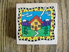 House & Trees Rubber Stamp