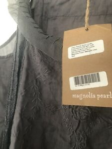 Magnolia Pearl Anna Cecilie Lace Embroidered Ramie Linen Dress In Midnight BNWT