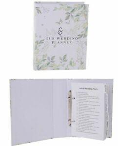 MR & MRS OUR WEDDING PLANNER white green leaves organiser diary book bridal gift