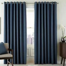 Peacock Blue Hotel Lined Eyelet Room Darkening Curtains Blue 168cm W x 137cm D
