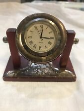 Sterling Silver And Red Wood Small Clock, As Is 925